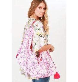 Urbanista Hobo Bag-Intricate Floral Hand Stitch, Fuchsia