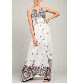 Tony Mary Dress-Maxi Sleeveless Floral & Elastic Waist