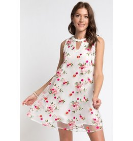 Andree by Unit Dress-Sleeveless Pretty Embroidered Flowers