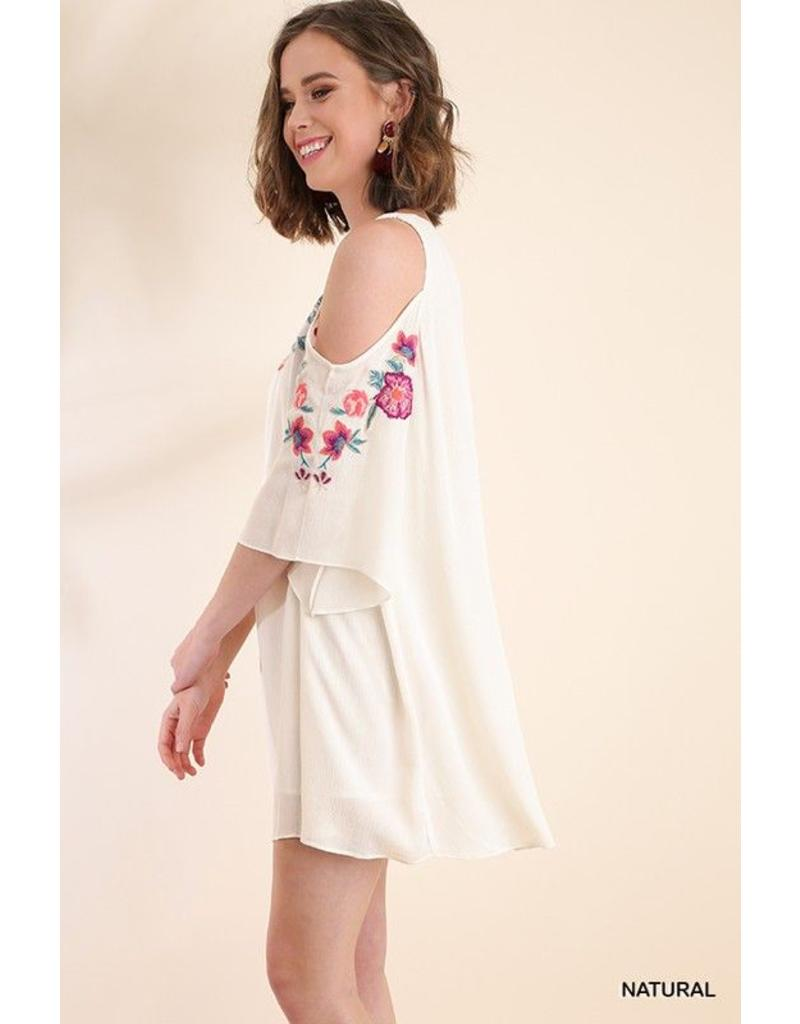 Umgee USA Dress-Open Shoulder, Angel Sleeve, Floral