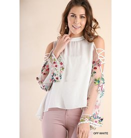 Umgee USA Top-Floral Emb Angel Sleeve, Crossed Open Shoulder