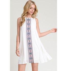 Hem & Thread Dress-Sleeveless Flared w/Embroidery & Stud Neck