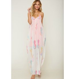 Fantastic Fawn Dress-Semi-Sheer Maxi, Pink Neon Lining & Pineapples