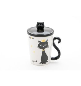 Mug w/Lid & Spoon-Black Cat with Crown