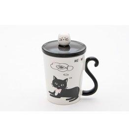 Mug w/Lid & Spoon-Black Cat with Fish