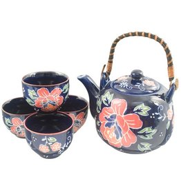 Tea Set-Porcelain 'Navy w/Pink Flower' (6pc)