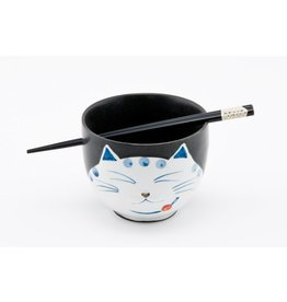"Cat Rice Bowl 5"" w/Chopsticks-Black"