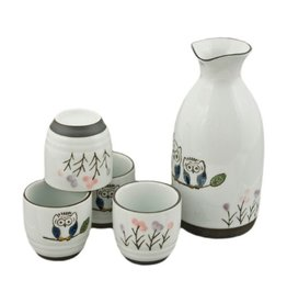 Sake Set-Porcelain 'Owls' (5pc)