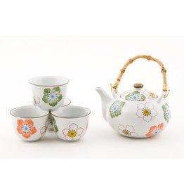 Tea Set-Porcelain 'White w/Flowers'' (6pc)