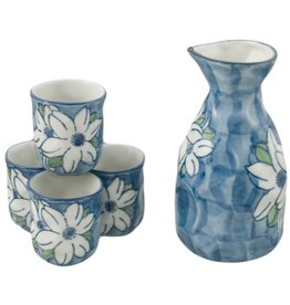Sake Set-Porcelain 'Blue w/White Flowers' (5pc)