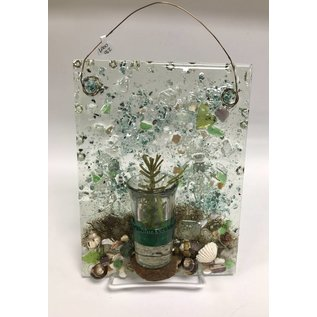 Ocean Current Art Seascape Resin with Bud Vase