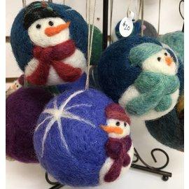 Joan Ryan Felted Snowman Ornament