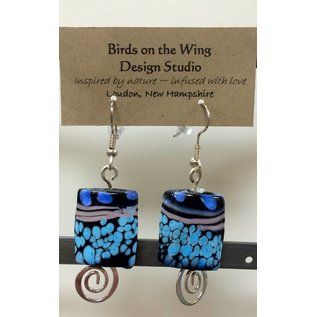 Birds on The Wing Glass Bead Earrings