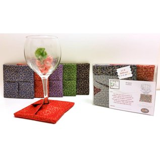 Fine Wine Designs Fabric Wine Glass Coasters 6-pack