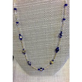Joan Major Designs Blue and Gold Round Bead and Silver/Gold Necklace
