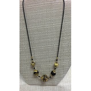 Joan Major Designs Gold/Black Round Bead Necklace