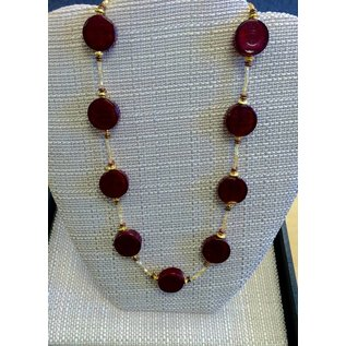 Joan Major Designs Red Coin Bead Necklace