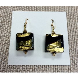 Joan Major Designs Gold/Black Square Earrings