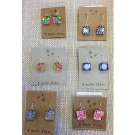 Kind Finds Glass Tile Dangle Earrings