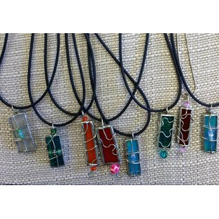 SB Creative Colored Glass and Wire Wrapped Necklace
