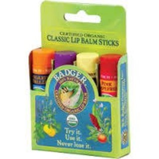 W.S. Badger Classic Lip Balm 4 pack - Green