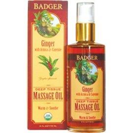 W.S. Badger Massage Oil - Deep Tissue - Ginger - 4 oz
