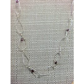 Stone on Silver Sterling loop with lavender czech glass beads Necklace