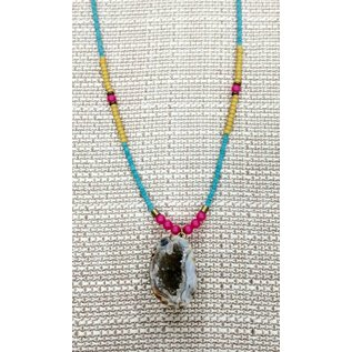 Oh Look Darling Turquoise, Yellow, Pink beads with Geode