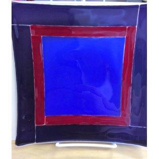 Melanie Hamilton Fused Glass Plate - Red, Purple, Blue