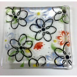 Kelly Harrison Fused Glass Plate with Flowers