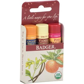 W.S. Badger Classic Lip Balm 3 pack - Red
