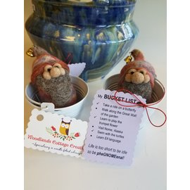 Woodland Cottage Creations Felted Bucket List Gnome