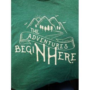 Upper Notch Press The Adventure Begins Here Adult Tshirt