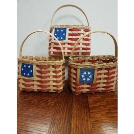 Diane Perry-Mann Small Basket w/handle RedWhiteBlue