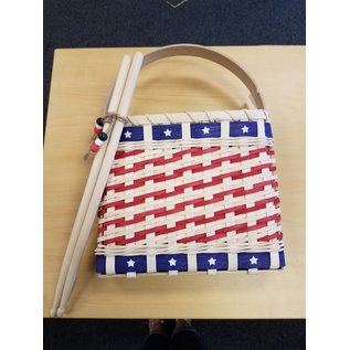 Diane Perry-Mann Flat Basket Red White Blue w/drum sticks