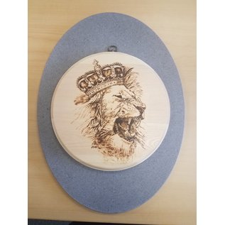 Best Wishes Wood Burn Plaque -Lion