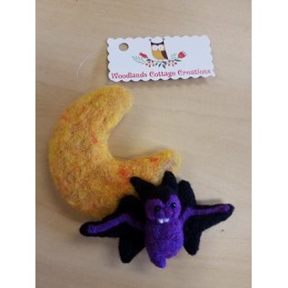 Woodland Cottage Creations Ornament - Bat/Moon