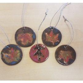 Elizabeth MacBride Ceramic Ornament:Maple/Oak Leaf