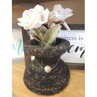 Susan Reid Felted Vase - Black Tweed