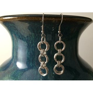 Knitting Metal Three Rings Earrings
