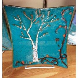 """Muddy Girls Studio 7"""" Blossom Birch Tree Stoneware Plate"""