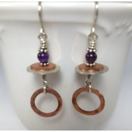 Patty Roy Jewelry Amethyst and Copper Earrings
