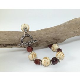 Birds on The Wing Carved Bone and Horn Bracelet