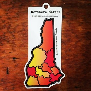Northern Safari Design New Hampshire Decal / Sticker (Sunset Colors)