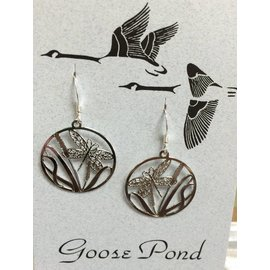 Goose Pond Dragonfly Earrings-Rhodium