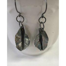 Stone on Silver Oxydized Silver Leaf Earrings