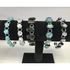 Donna Compagna Silver Plated Dichroic Glass Bracelet