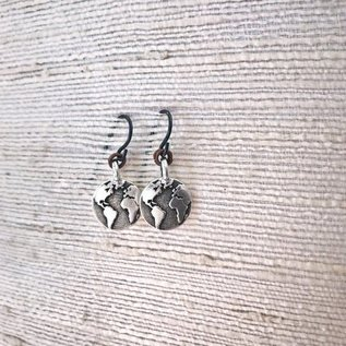 Apple and Azalea Silver Plated Pewter Charm Earrings