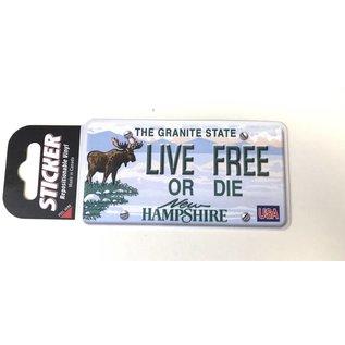Eastern Illustrating Live Free or Die NH License Plate Sticker