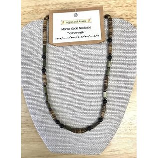 Apple and Azalea Morse Code Bead Necklace
